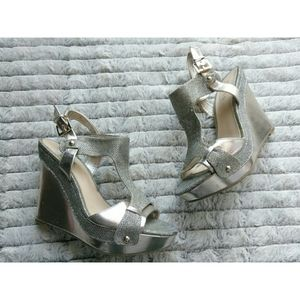 Guess Open Toe Gold Wedges